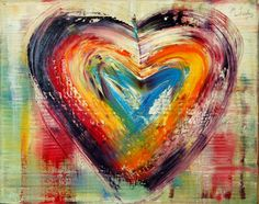 Colorful heart you are beautiful! Heart Canvas, Heart Art, Heart Collage, I Love Heart, Color Heart, Heart Painting, Diy Arts And Crafts, Happy Valentines Day, Heart Shapes