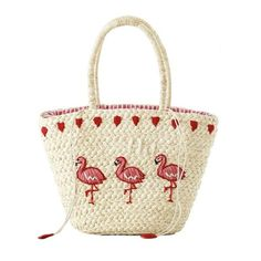 Embroidered Flamingo Straw Tote Bag Off-white (20 CHF) ❤ liked on Polyvore featuring bags, handbags, tote bags, embroidery purse, straw tote, handbags tote bags, embroidered purse and tote purses