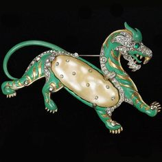 Trifari 'Alfred Philippe' Teal Enamel and Pearl Belly Ming Tiger Pin 1942