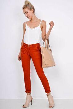 Dámske nohavice medenej farby - Rouzit.sk Capri Pants, Fashion, Moda, Capri Trousers, Fashion Styles, Fashion Illustrations
