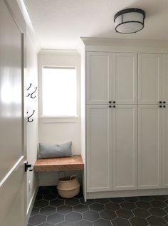 Mudroom Cabinets, Mudroom Laundry Room, Ikea Cabinets, Ikea Laundry Room Cabinets, Ikea White Kitchen Cabinets, Bench Mudroom, Ikea Kitchen Remodel, White Shaker Kitchen, White Cabinets
