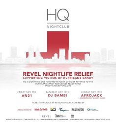 HQ Nightclub Announces 'Revel Nightlife Relief' // The AC nightclub to donate proceeds to the victims of Hurricane Sandy