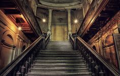 Abandoned palace in Poland. AMAZING staircase!  This palace must have been enormous!