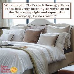 Are you tired of doing the decorative pillow dance each morning and evening? If it is more trouble than it's worth to you, make sure to follow these instructions for how to declutter pillows, on Home Storage Solutions 101