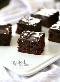 These Malted Chocolate Brownies are so super chewy and delicious! The last brownie recipe you'll ever need! Chocolate Brownies, Chocolate Chip Brownies, Chocolate Brownie Cookies