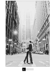 Engagement picture in the middle of a city street ♥