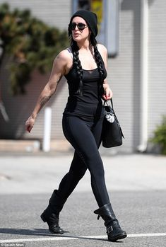 Rock chic: Rumer (pictured) and Scout Willis showed off their stunning genes as they stepped out separately on Friday to attend fitness classes