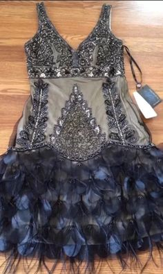 SUE WONG 1920's Black Nude Beaded Sequin GATSBY Feather Evening Flapper Dress 10 #SUEWONG #GATSBY #Cocktail