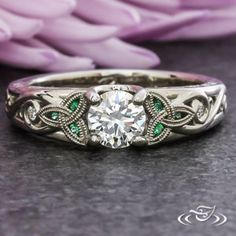 Emerald and Diamond Celtic Engagement Ring GreenLakeJewelry Irish