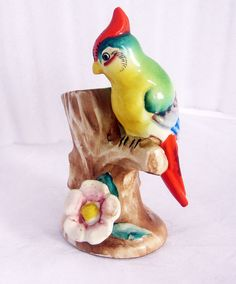 Porcelain TORLL BRAND Colorful bird sitting on branch Vase