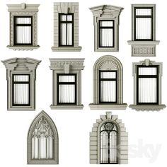Classic frame window Classic frame window model m. Classic House Exterior, Classic House Design, House Front Design, Dream House Exterior, Neoclassical Architecture, Classic Architecture, Architecture Design, Villa Design, Window Design