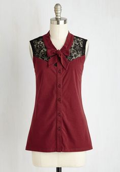 Make a Mission Statement Top in Burgundy. This brilliant button-up blouse is a truly elegant testament to your taste! #red #modcloth