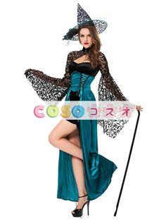 ハロウィン 魔法使い コスチューム 魔女 トランペットスリーブ レース 女性用 ドレス