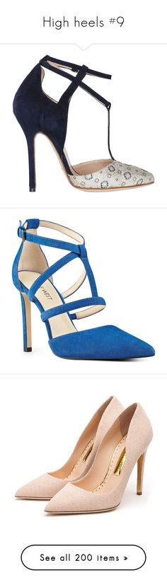 """High heels #9"" by asiebenthaler ❤ liked on Polyvore featuring shoes, pumps, heels, обувь, navy, navy blue suede pumps, t-strap pumps, pointed-toe pumps, pointed toe high heel pumps and navy suede pumps"