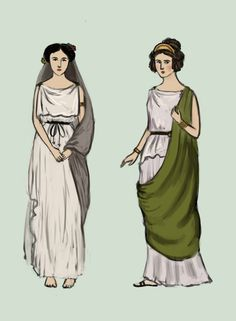 Archaic Greece by Tadarida In the Archaic Period, clothes were mostly white and made of stiff materials. Woman on the left wears peplos, the one on the right - doric chiton. They are both made of two rectangular piece of cloth, that are sewn together on the left side and open on the right. Top edges are turned over and pinned together. In chiton, the fold reaches from shoulders to waist, in peplos it's shorter.