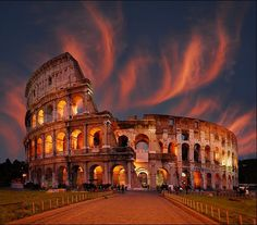 The Colosseum, Rome.  When I go to Italy, I hope the sky will look  like this.
