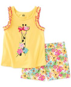 A darling giraffe applique graces the front of this sleeveless top by Kids Headquarters, paired with bright floral-print shorts to complete her look. | Cotton | Machine washable | Imported | Shirt: so