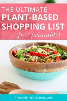 This plant-based shopping list has everything you need to get started with a plant-based diet! It's perfect if you're a beginner and need a plant-based grocery list. Plant Based Eating, Plant Based Diet, Plant Based Recipes, Raw Food Recipes, Diet Recipes, Healthy Recipes, Healthy Foods, Freezer Recipes, Freezer Meals