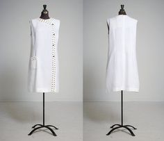 1960s white A-line shift dress with asymmetrical crocheted lace trim and black beads, vintage mod prom dress, simple and sweet by inPastTimes on Etsy