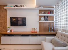 great tv wall design ideas for living room decoration 39 Modern Tv Unit Designs, Living Room Tv Unit Designs, Living Room Wall Units, Home Living Room, Living Room Decor, Pooja Room Door Design, Home Room Design, Dining Room Design, Tv Unit Decor