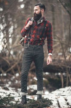 Me snow fashion style model forest men male model mens fashion menswear male hot guys top model beard hiking beards mens clothing modelling lumberjack manly Hipster Outfits, Hipster Fashion, Mode Outfits, Rugged Style, Style Casual, Style Men, Men's Style, Lumberjack Outfit, Lumberjack Style