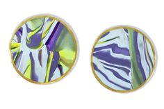 Purple and Green Marbled Clay Coaster