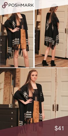 🍁Black Aztec Fringe Cardigan!🍁 🍂Black Aztec Fringe Cardigan! This Aztec Fringe Cardigan is absolutely gorgeous! It has a beautiful Aztec design with a high/low style with Fringe! Adds the finishing touch for a cool evening out!🍂 Sweaters Cardigans