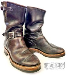 MF Road Champs, motorcycle vintage-style engineer boots. An all original MF® pattern inspired by 1930′s to 1950′s American engineer and work boots. This type of boots were a favorite amongst motor-cyclists/servicemen/workers, as seen on many period photographs.
