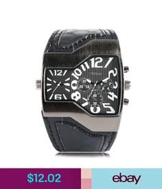 Wristwatches Oulm Military Army Two Time Zones Movements Watch Leather Cool Boys Sports Mens #ebay #Fashion