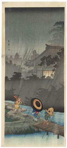 Shower at Terashima by Shotei (Takahashi Hiroaki) (1871 - 1945)