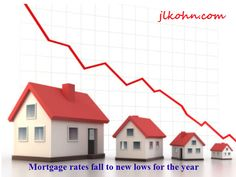 Mortgage rates fall to new lows for the year Read at: https://www.facebook.com/pages/Joseph-L-Kohn/168938233301723 For more updates: jlkohn.com #RealEstate #Home #buyer #Mortage