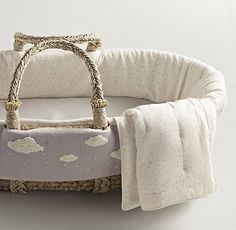 Made to fit our Moses basket, it includes a cotton quilt, cushioned pad and… Moses Basket Bedding, Restoration Hardware Baby, Deco Kids, Rh Baby, Baby Bassinet, Nursery Inspiration, Nursery Ideas, Baby Needs, Baby Time