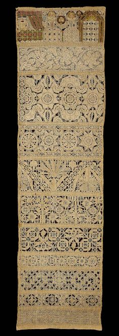 Band sampler,English mid 17th C. Natural plain-weave linen ground embroidered band sampler.  Needle lace floral bands with drawin work band at bottom.