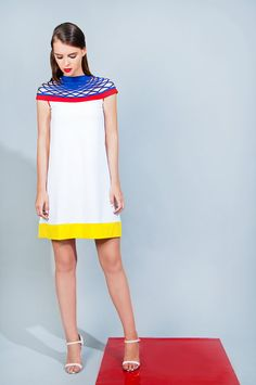 Colorful 'Alpha' Dress: A-Line Dress with a Sophisticated Cutout Neck Detail