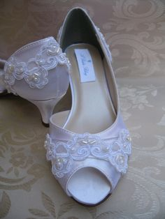 Lace Wedding Shoes Custom Bridal Shoes Bridal White by ABiddaBling, $135.00