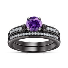 1.34 CT Round Diamond & Amethyst Straight Shank Style 925 Silver Bridal Ring Set #affoin8