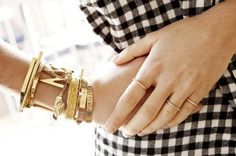 gingham and gold, maybe just a little less gold, but love a nice gold bangle, wide band ring and always gingham