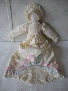 Vintage Faceless Pillowcase Prairie Girl Doll by countryroadgifts