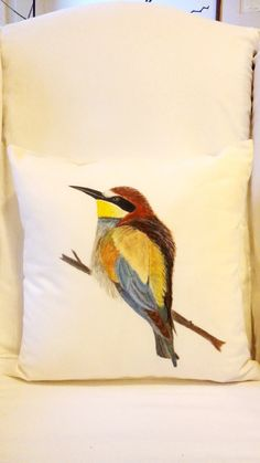 Hand painted Pillow by PinarBelendir on Etsy