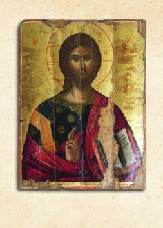 Ὁ Παντοκράτωρ, 16ος αἰ., Ἐπισκοπεῖο Νεαπόλεως Byzantine Art, Jesus Christ, Mona Lisa, Images, Lord, Baseball Cards, Artwork, Painting, Greek