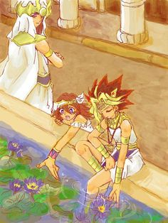 Crown Prince Atem alongside his two childhood friends, Mana and Priest Mahad enjoying their time together in the Royal garden of the Palace. Vera Ellen, Yu Gi Oh, Baby Daddy, Yuri, Mystic Messenger V, Royal Garden, Animation, Childhood Friends, Crown