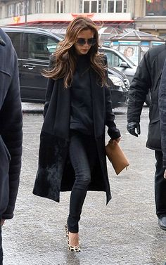 chic solid black with a cheetah heel pop