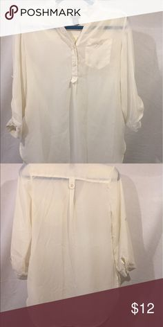 Rue 21 Sheer Cream Tunic/Blouse Cream Tunic Blouse by Rue 21. Size small. Long sleeves but lightweight. Has button detail on sleeves for rolling the cuffs. 2 Button closure on front. Cute top! Rue 21 Tops Tunics
