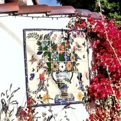 Mexican tiles on a wall in La Quinta!
