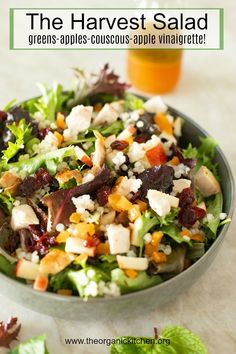 The Harvest Salad: Greens, Couscous, Fall Fruit and Apple Vinaigrette - recipesbaby Couscous How To Cook, Harvest Salad, Fall Fruits, Dinner Entrees, Peppers And Onions, Healthy Soup, Healthy Salads, Vinaigrette, Salad Recipes