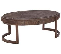 Enrich your decor with the look of repurposed wood with this one-drawer walnut finish oval cocktail table.