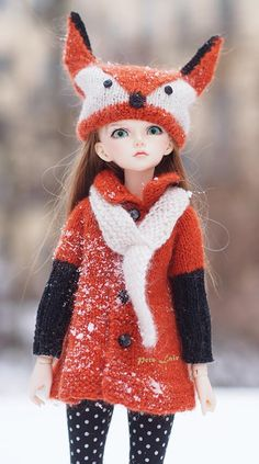 #Fox #costume #Knitted for #Minifee #MSD, #Dolls #fox #hat, #outfit for #Doll 3BJD, #Coat #Angora wool #cardigan, #Unoa, for #iplehouse #JID, for #Kaye #WiggsIf you like this cet, welcome to my #ETSYshop #PetsLair. Active link on my profile