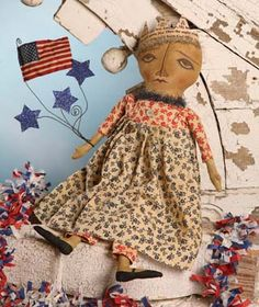 Folk Art Patriotic - Americana Queen Justice Doll