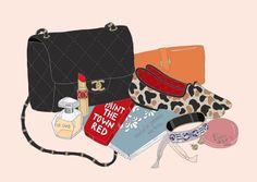 EmmaKisstina Illustrations by Kristina Hultkrantz: WIMB Makeup Illustration, Love Illustration, Fashion Images, Fashion Art, Art Folder, Ecole Art, What In My Bag, Perfume, Cartoon Pics