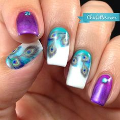 nice Peacock Feather Nails with Water Decals - Chickettes Peacock Nail Art, Feather Nail Art, Peacock Nail Designs, Love Nails, How To Do Nails, Nagel Hacks, Finger, Snowflake Nails, Nail Polish Art